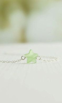 Tiny Jade Star Necklace colored jade star