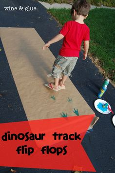 Dinosaur Track Flip Flops | www.wineandglue.com | A fun homemade gift for any little dinosaur lover!