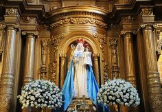The miraculous statue of Our Lady of Good Success above the main altar of the Conceptionist Church in Quito, Ecuador