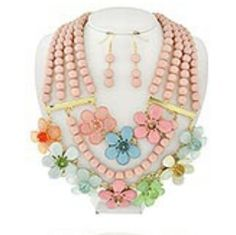 Multi-colored flower and pearl set