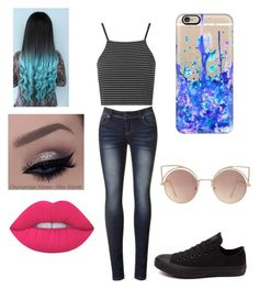 """Untitled #21"" by tabbytha-walsh ❤ liked on Polyvore featuring Lime Crime, Converse, Topshop, Casetify and MANGO"
