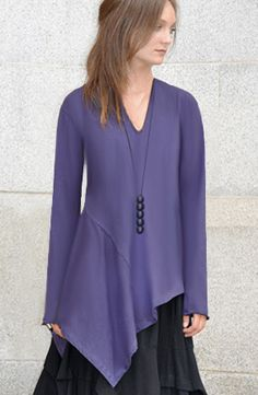 Michelle Tunic in Purple Haze Tokyo. Exquisite, though would be better on someone with broader shoulders. The one strength missing from this line of clothing is the quality of their photography.  Cynthia Ashby's clothes on Artful Home are far more clearly photographed, so you can really see the quality of the fabric and the construction.