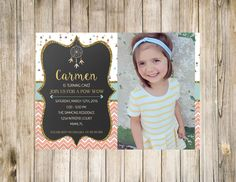 Tribal First photo birthday chalkboard invitation -5x7 Glitter and gold