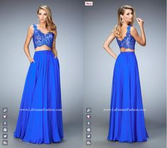 La Femme Prom style - 22128 two piece prom dress - blue prom dress - formal dress - rhinestone embellished - lace top - scooping back - circle skirt