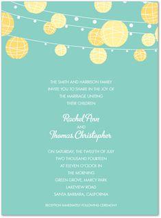 Yellow Lanterns Blue Party Invitations