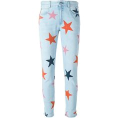 Stella Mccartney Skinny Boyfriend Jeans With Stars ($435) ❤ liked on Polyvore featuring jeans, light blue, blue star jeans, patched jeans, skinny leg jeans, patterned skinny jeans and star print jeans