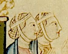 Spanish Seamstress - Other Iberian Images - Medieval Crafts, Medieval Art, Medieval Hairstyles, Period Outfit, Medieval Dress, Period Costumes, 14th Century, Interesting Faces, Headgear