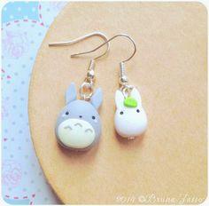 Ghibli Totoro earrings ~ Cute Kawaii Earrings Polymer Clay Fimo tonarinototoroMiyazaki My Neighbor Totoro by BrunaZassou on Etsy https://www.etsy.com/listing/233076972/ghibli-totoro-earrings-cute-kawaii