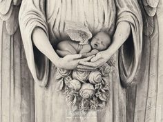 Bebê anjo dormindo nas mãos da estátua 1024x768 Papel de Parede Wallpaper