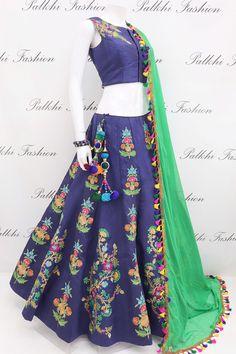 Gorgeous Hand Work Full Flair Chaniya Choli With Designer Blouse & Dupatta Dress Indian Style, Indian Dresses, Indian Wear, Indian Outfits, Hi Fashion, Indian Fashion, Indian Designer Outfits, Designer Dresses, Ghaghra Choli