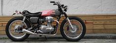 2LOUD crafts custom warm grey & popping pink kawasaki W800 motorcycle