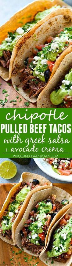 Low Carb Recipes To The Prism Weight Reduction Program Kicked Up Chipotle Crockpot Beef Tacos Piled High With A Fresh Greek Salsa And The Most Amazing Avocado Crema Ever Meet Your New Favorite Taco. Slow Cooker Recipes, Crockpot Recipes, Cooking Recipes, Healthy Recipes, Spinach Recipes, Pork Recipes, Cooking Tips, Mexican Dishes, Mexican Food Recipes