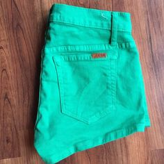 "Joe's Jeans Green Shorts Cute green denim shorts from Joe's! These are a size 27, but I think they fit more like a 26 (size 0 or 2). They have a 2"" inseam and 8"" rise. Great condition! Joe's Jeans Shorts"