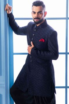Buy Solemn Blue Indo Western - Contemporary wear from the house of Manyavar. Choose from a wide range of designer Indo western, Sherwani, traditional dresses for men online. Blazer For Men Wedding, Sherwani For Men Wedding, Wedding Dresses Men Indian, Wedding Outfits For Groom, Wedding Dress Men, Wedding Suits, Mens Indian Wear, Indian Groom Wear, Indian Men Fashion