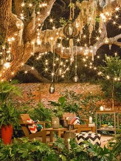 Backyard Ideas for Beauty, Fun, Family and Entertaining - This space feels magical with the addition of lights and globes hanging from the gnarly branches of a willow tree. The adirondack chairs are nestled on a garden patio and accented with brightly patterned prints.