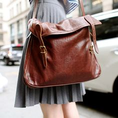 leather messenger bag.