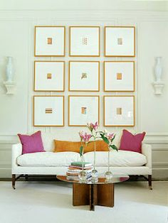 Thin gold frames with thick matte (use black and white photos) for master bedroom