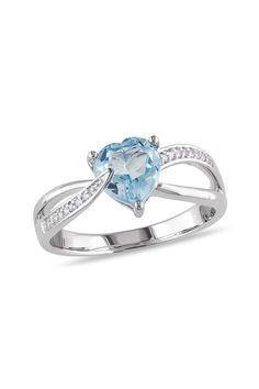 Sterling Silver Diamond & Blue Topaz Heart Ring - 0.05 ctw