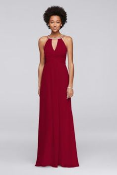 This long sleeveless chiffon bridesmaid dress proves two keyhole cutouts are better than one. The silvery jeweled neckline gives way to a deep V-shaped cutout in the front that shows the perfect amount of skin. Spin around to showan equally flattering cutout in the back.  Wonder by Jenny Packham  Back zipper; fully lined  Dry clean  Imported