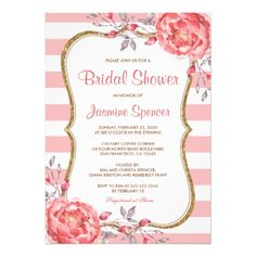 Pink And White Bridal Shower Invitations With Gold Glitter And Pretty Watercolor Peonies.