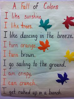 9 Autumn & Fall Poems for kids in Preschool, Kindergarten & Up in 2019 Preschool Poems, Kindergarten Poems, Fall Preschool Activities, Kindergarten Classroom, Classroom Activities, Preschool Fall Theme, Halloween Crafts Kindergarten, Halloween Poems For Kids, Seasons Kindergarten