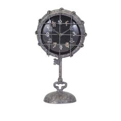 Imax world map suitcase clock zulily clocks watches ticking head back in time to the industrial age with a metal pedestal clock finished in a gumiabroncs Choice Image