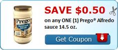 New Coupon!  Save $0.50 on any ONE (1) Prego® Alfredo sauce 14.5 oz. - http://www.stacyssavings.com/new-coupon-save-0-50-on-any-one-1-prego-alfredo-sauce-14-5-oz/