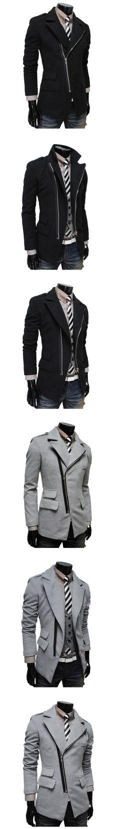 Side Zip Flap Pocket Blazer Coat