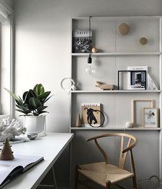 Modern home office Scandinavian interior minimalism wall art plants white desk Workspace Design, Office Interior Design, Office Interiors, Cafe Interiors, Workspace Inspiration, Interior Design Inspiration, Home Office Space, Home Office Decor, Interiores Design
