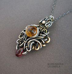 EASTEN TALE pendant, 925 sterling silver, brass, quartz, garnet, patina. by KL-WireDream on DeviantArt