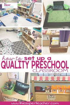 How to Set Up a Quality Preschool Classroom This awesome post goes into detail on how to set up a perfect preschool classroom. It has a picture of EVERY center and tells you what kind of things to have at each center. Check it out! Preschool Classroom Layout, Preschool Set Up, Preschool Rooms, Preschool Centers, Toddler Classroom, Preschool Curriculum, Classroom Setting, Classroom Ideas, Classroom Organization