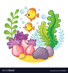 Buy Cartoon Underwater Life by svaga on GraphicRiver. Cartoon concept of wildlife in the ocean. Art Drawings For Kids, Drawing For Kids, Easy Drawings, Art For Kids, Cartoon Drawings, Cartoon Sea Animals, Cartoon Fish, Plant Cartoon, Underwater Cartoon