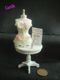 12th Scale Handmade Miniature   CREAM LACE CORSET   SHABBY CHIC DISPLAY TABLE