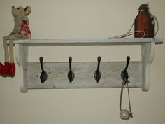 HAT AND Coat Rack With Shelf Shabby Chic Distressed Rustic White Wash 3 8 Hooks | eBay