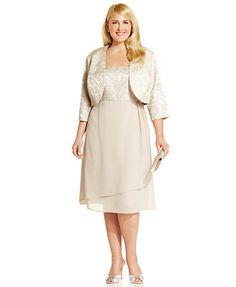 R&M Richards Plus Size Jacquard A-Line Dress and Jacket