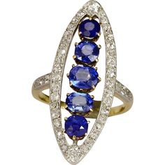 Antique natural untreated Ceylon sapphire and diamond Victorian marquise-shape ring