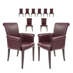 Set of Ten Poltrona Frau Vittoria Leather Dining Chairs