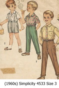Vintage+1960's+Simplicity+4533+Little+Boys+Oxford+Shirts+&+Pants+and+Shorts+Size+3