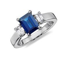 Emerald Cut Sapphire and Diamond Ring in Platinum (8x6mm).  #bluenile