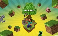 Minecraft Blocks Wallpaper Wallpaper from Minecraft. Minecraft Wallpaper with flying blocks.
