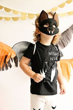 Everyone will want to hang out with your little bat this Halloween!  This bat mask allows your little one to spread their wings and fly with their