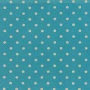 "Linen Mochi Dot (Turquoise) 70% cotton/30% linen, lightweight canvas, 44/45"" wide"
