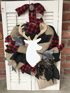 Whether you want to a few elements of buffalo check to your home or go all out, this collection of Buffalo Check Christmas Decor Ideas is sure to inspire. Baby Deer Nursery, Plaid Nursery, Rustic Nursery, Plaid Bedroom, Buffalo Check Christmas Decor, Christmas Deer, Rustic Christmas, Tartan Christmas, Cabin Christmas