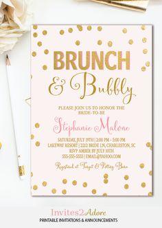 6304ec69f160 Brunch and Bubbly Invitation - Pink   Gold Confetti Bridal Shower Invite - Bridal  Brunch Shower