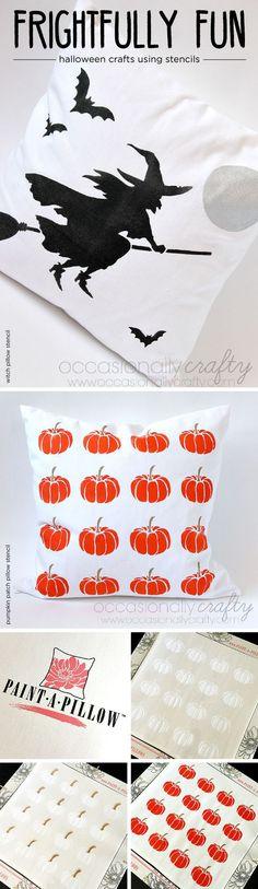 A DIY stenciled accent pillow using the Pumpkin Patch Stencil from Cutting Edge Stencils. http://www.cuttingedgestencils.com/pumpkin-stencil-pattern-halloween-home-decor-accent-pillows.html