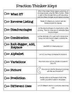 Fraction Thinker Keys for gifted kids