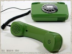 Telefon in grün mit Wählscheibe * Post FeTAp 791-1 * 80er-Jahre * kult *