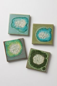 Fused glass and ceramic coasters. These are from anthropologie, but there are other specialty shops I've seen them at. Cool Coasters, Ceramic Coasters, Glass Coasters, Agate Coasters, Blue And Green, Rock Collection, Clay Projects, Coaster Set, Glass