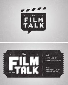 Logo ideas for The Film Talk podcast. Submission from ffffloyd Brand Identity Design, Graphic Design Branding, Typography Logo, Logo Branding, Film Logo, Ticket Design, Studio Logo, Logo Restaurant, Creative Logo