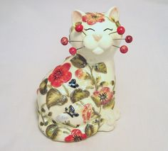 """'Botanicat' by Whimsiclay Ceramic Cats.   So sweet. Love the flowers. Very small (5 3/8"""")."""